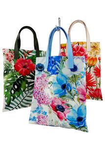 R-PET Eco-friendly floral print shopping Bag