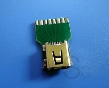 Mini Usb 8 Pin Female Connetcor With Pcb Connectors On