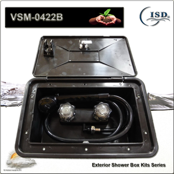rv exterior shower box kit w shower faucet and hose components