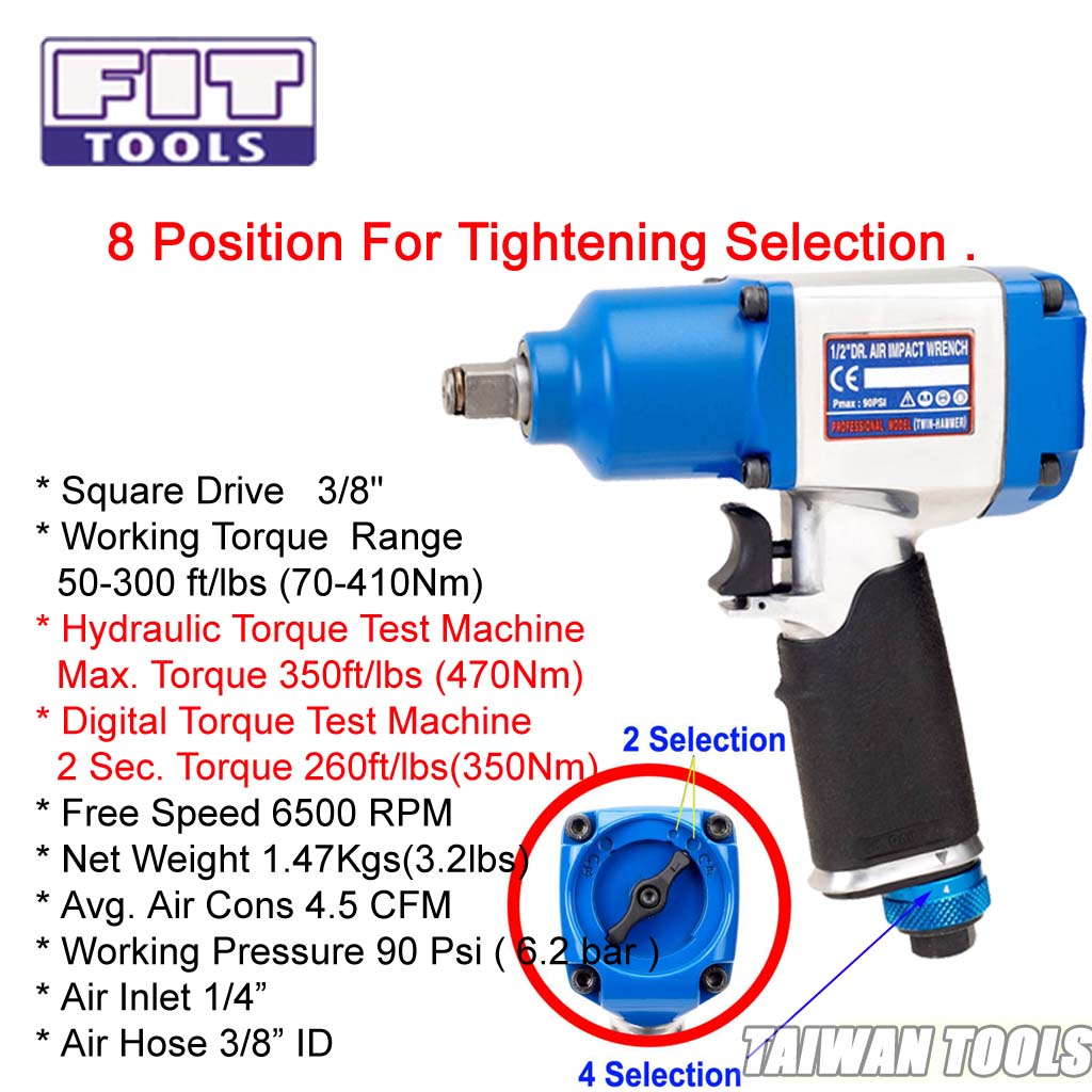 【fit Tools】 3 8 Inch Heavy Duty Dr Air Impact Wrench 8