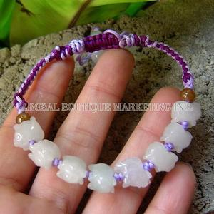 Natural Jadeite Carving Boars TwoColor Woven Bracelet
