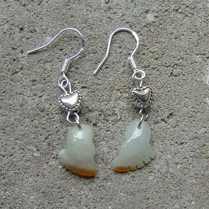 Natural White With Yellow Jadeite  Silver Earring Set