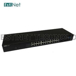 EstiNet Edge Switch - with 24 gigabit RJ45 PoE+ ports and 4