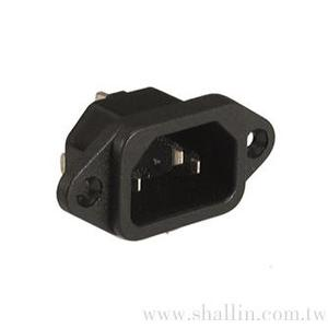 Panel mount AC socket terminal 4.8mm W/approval