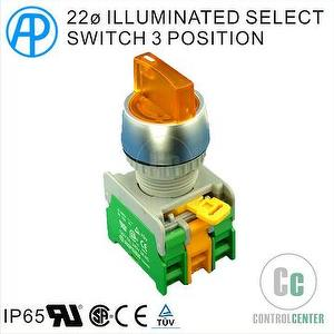 22mm ILLUMINATED SELECT SWITCH 3 POSITION  TYPE AP B-TYPE