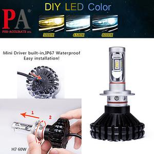 Automobile Headlight Conversion Kit H7 60W DIY 3 Color