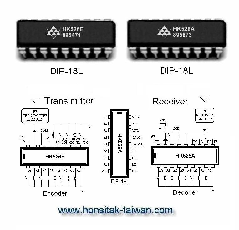 Encoder / Decoder HK526A, DIP-18L|Encoder / Decoder IC|HK526A, DIP
