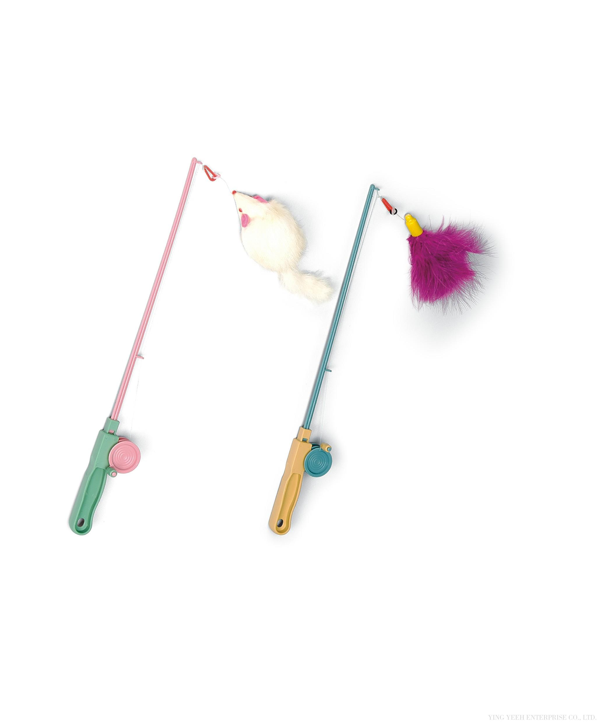 Acepet kitty fishing rod teaser with mouse or for Cat toy fishing pole