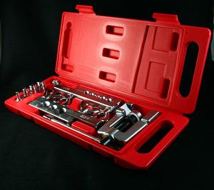Pipe flaring tool kit with flaring & swaging on ac