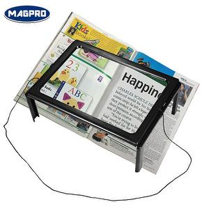 led full page magnifier plastic foldable hands free 3x