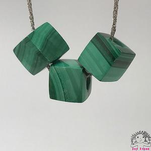 [925 Silver Malachite] 8.5mm Cube Beads Pendant Necklace