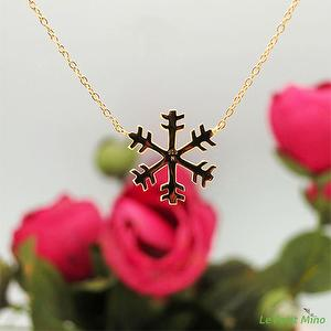 925 Silver Necklace Snowflake Pendant Gold Clad