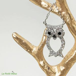 925 Silver Necklace Owl Zircon Pendant (Farsighted)