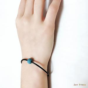 Charm Blue Lava Rock Diffuser Thin Black Leather Bracelet
