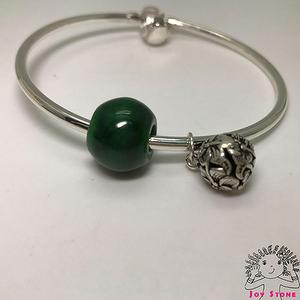 925 Silver Burma Jade 13.8mm Bead and Silver Charm Pendant 5