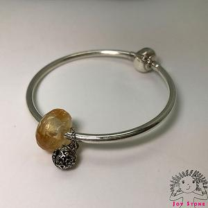 925 Silver Citrine Faceted Rondelle Silver Charm Necklace