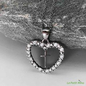 925 Sterling Silver Cross Necklace Heart Zircon 3