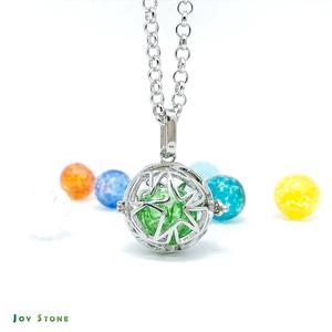 Diffuser Art Glass Locket Necklace Cutout Star Sphere 1