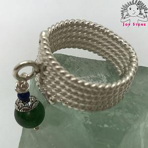 925 Silver Diopside Fishtail Braided Grain Ring Bead Size