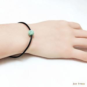 Green Lava Rock Diffuser Thin Black Natural Leather Bracelet