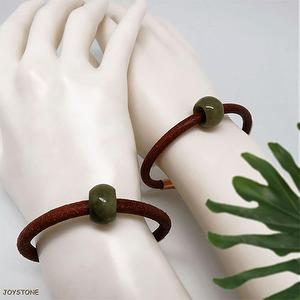 Lovers Burma Jade 5mm Wide Leather Cord Bracelets