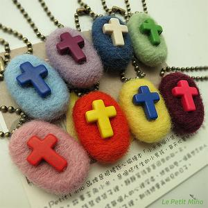 Handmade Needle Felting Cross Roundy Straps Charms