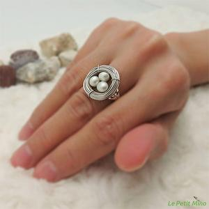 925 Sterling Silver Pearl Nest Ring Platinum-Clad