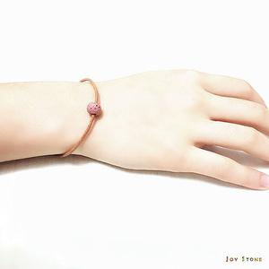 Pink Lava Bead Diffuser Light Brown Natural Leather Bracelet