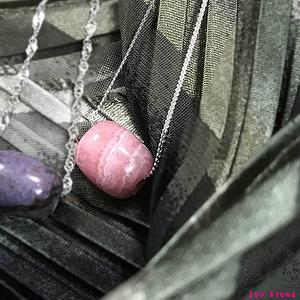 [925 Silver Rhodochrosite] Barrel Bead Pendant Necklace