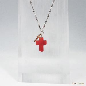 Double Cross Necklace Red Onyx Pendant