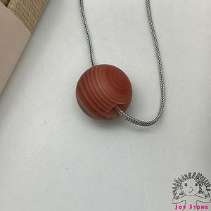 [925 Silver Striped Agate] 14mm Bead Pendant Necklace