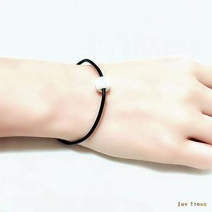 White Lava Rock Diffuser Thin Black Natural Leather Bracelet