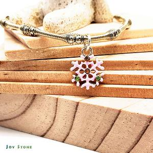 Snowflake - Pink - Silver Beads Bracelet - Xmas Party Queen