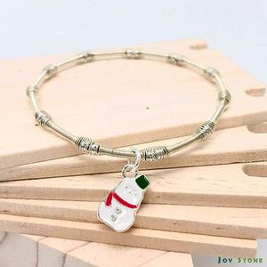 Xmas Party Queen Silver Beads Bracelets - Snowman