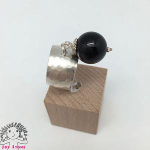 925 Silver Black Tourmaline Diamond shaped Markings Ring