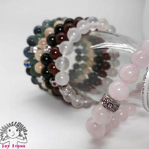 10mm Beaded Natural Stone Bracelet 7 Options Stretch Floss