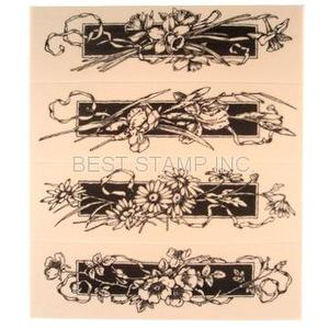Rubber-foam Stamp Set - Border / Flower Corner
