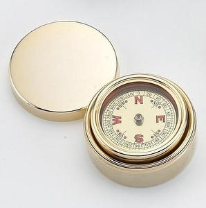 GOLD PLATED ROUND BOX & COMPASS