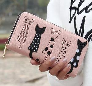 [GVF] GVF Woman purse wallet 5 cats Embroidered long wallet