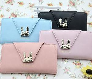 GVF Woman Rabbit metal Long wallet purse handbags clutch