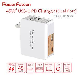 45W PD USB-C+USB-A ports charger for Macbook and smartphone