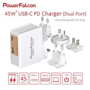 45W PD dual port (USB-C+USB-A) charger