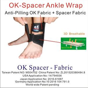 Adjustable Breathable knitted OK Spacer Fabric Ankle Brace